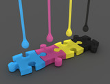 3D cmyk ink drops isolated on gray and puzzle - 221236769