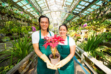 Happy flower market owners holding red blooming flower and looking at camera - 221237737