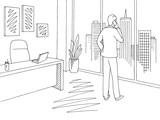 Office room graphic black white interior sketch illustration vector. Man talking on the phone and looking out the window - 221241168
