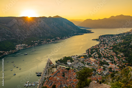 Fototapeta aerial view of kotor town on sunset