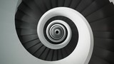 Tall, modern, contemporary dark, monochromatic spiral staircase with detailed textures and materials. Illusion of infinite design created abstract, dreamlike style illustration. Looping animation. - 221249506
