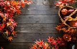 Autumn leaves on wood. Red autumn