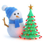 Vector 3d Snowman has a nice Christmas tree - 221251309