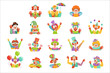 Happy cartoon friendly clowns character colorful vector Illustrations