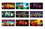 Tropical jungle landscapes set in different times of day - 221252187