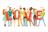 Group of happy smiling people holding the word Love cartoon colorful vector Illustration - 221252395