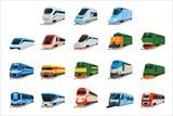 Retro and modern trains locomotive set, railway carriage vector Illustrations
