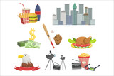 USA national symbols set, american attractions vector Illustrations - 221252965