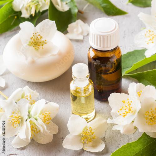 Jasmine oil. Aromatherapy with Jasmine oil and soap. Jasmine flower © Elenglush