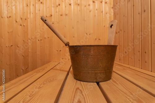 Leinwanddruck Bild View into a private sauna