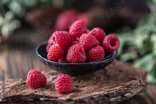 Fresh raspberries background. Fresh raspberry - 221265197