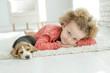 Leinwanddruck Bild - Child with dog