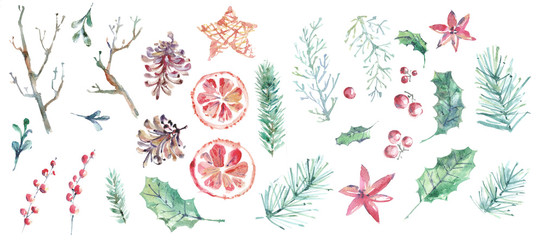 Merry Christmas watercolor collection. Hand drawn elements © dinkoobraz