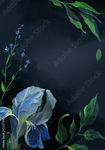 pionowo-karta-blekitny-irysowy-kwiat-i-lisc-na-czarnym-tle