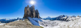 Tre Cime di Lavaredo, Drei Zinnenin beautiful panorama with surroundings in autumn scenery, the Dolomites in Italy, Europe. - 221274103