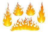 Fire flames vector set - 221274161
