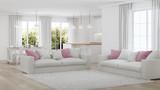 Modern house interior. White interior. 3D rendering. - 221279764