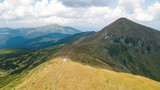 Aerial view of the footpath in the Carpathian Mountains - 221282721
