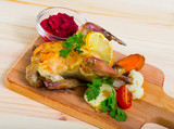 Poultry dish with cranberry sauce - 221283547