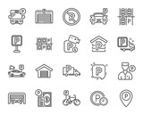 Fototapety Parking line icons. Set of Garage, Valet servant and Paid parking linear icons. Video monitoring, Bike or Car park and Truck or Bus stopping symbols. Money, Map pointer and Free park place. Vector