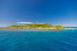 Maldives island port, boats and nature background