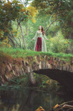 Beautiful girl in long medieval dress standing on the bridge near river - 221290155