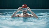 The young man at pool. The fitsport, swimmer, pool, healthy, lifestyle, competition training athlete energy concept - 221291705