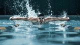 The dynamic and fit swimmer in cap breathing performing the butterfly stroke at pool. The young man. The fitsport, swimmer, pool, healthy, lifestyle, competition, training, athlete, energy concept - 221292171