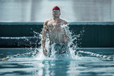 The young man at pool. The fitsport, swimmer, pool, healthy, lifestyle, competition training athlete energy concept - 221292304