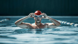 The young man at pool. The fitsport, swimmer, pool, healthy, lifestyle, competition training athlete energy concept - 221292333