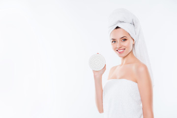 Portrait with copy space of pretty charming girl in towel with t © deagreez