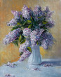 Bouquet of lilac flowers. Painting. Painting with oil paints - 221297145