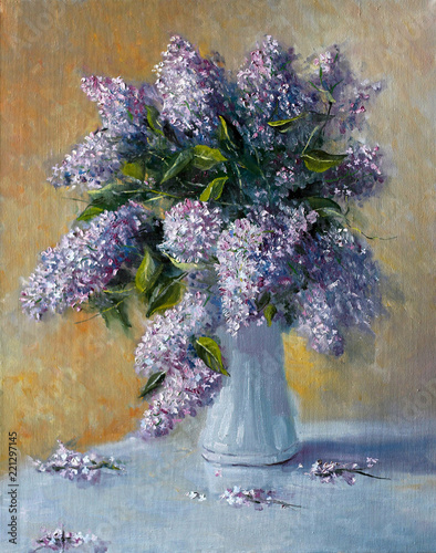 Bouquet of lilac flowers. Painting. Painting with oil paints © VIKTOR