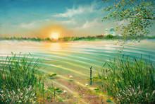 """Постер, картина, фотообои """"Sunrise on the lake. Painting. Painting with oil paints"""""""