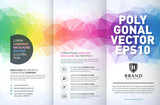 Abstract colorful geometric trifold brochure design template - 221301713