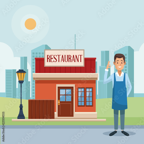 Poster Restaurant shop and businessman