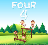 Four monkey at the playground - 221313399