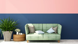 Living room decorate dark blue wall and pink wall - Design room of artwork residence business - Interior simple design for home or hotel - 3D Illustration - 221313508