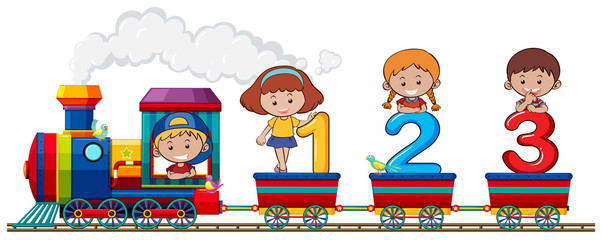Children and number on the train © GraphicsRF