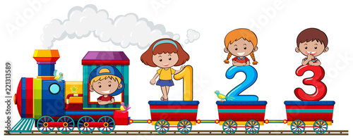 Tapeta Children and number on the train