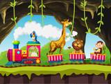 Animals riding train in nature - 221314990
