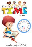 A boy reading a book at 8:30 - 221315394