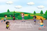 Children play hop scotch - 221315559