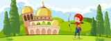 A muslim archery traning in front of mosque - 221315571