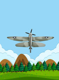 Army airplane flying on the sky - 221316317