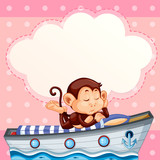 Monkey sleeping on the boat template - 221317316
