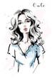 Hand drawn beautiful young woman with long hair. Stylish elegant girl. Fashion woman portrait. Sketch.