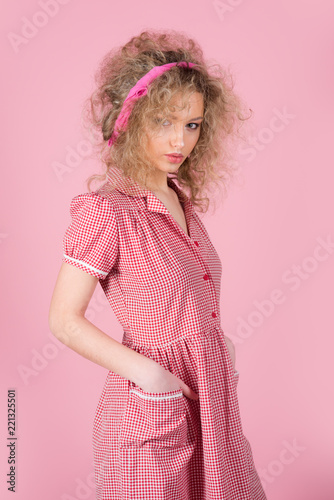 Pinup Girl Vintage With Curly Hair Pretty Woman Pinup Style In
