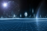 Futuristic artificial intelligence universe with planets and stars. Selective focus used. Illustration background. - 221326701