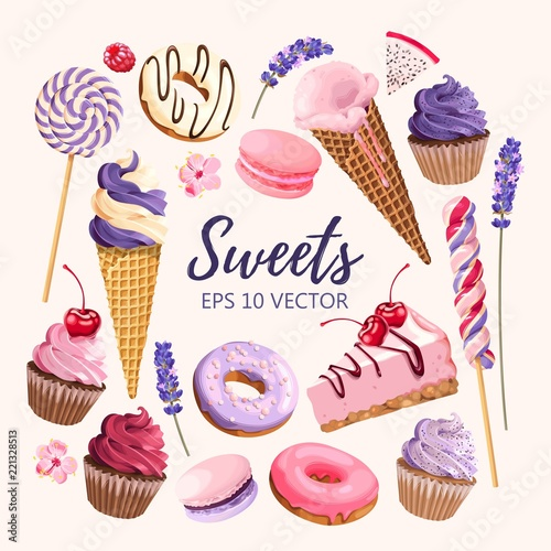 Poster Set of delicious fruit sweets and desserts